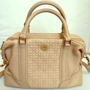 Tory Burch Quilted Mini Satchel in Light Oak